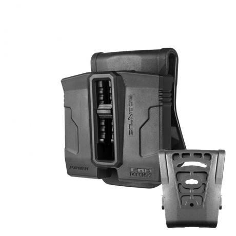 SC-PG9 S - Polymerové pouzdro na 2 zásobníky (Glock 9mm) (pádlo i opasková redukce) (PB360) černé
